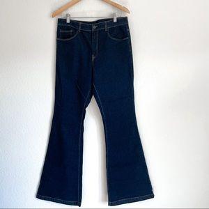 WILD PEARL Dark High Rise Flare Jeans